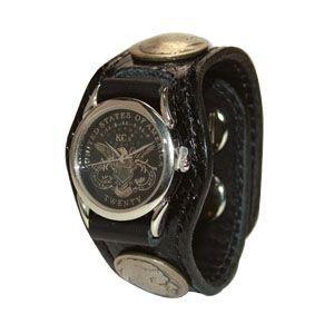 腕時計 革 ケイシーズ(KCs) エキゾチック スリーコンチョ ブラック ウォッチブレス パイソン KSR508B|nomado1230