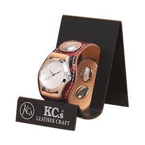 腕時計 革 ケイシーズ(KCs) エキゾチック スリーコンチョ レッド ウォッチブレス パイソン KSR508C|nomado1230