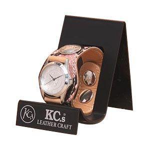 腕時計 革 ケイシーズ(KCs) エキゾチック スリーコンチョ ピンク ウォッチブレス パイソン KSR508E|nomado1230
