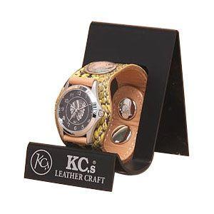 腕時計 革 ケイシーズ(KCs) エキゾチック スリーコンチョ イエロー ウォッチブレス パイソン KSR508G|nomado1230