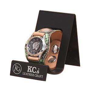 腕時計 革 ケイシーズ(KCs) エキゾチック スリーコンチョ グリーン ウォッチブレス パイソン KSR008GR nomado1230