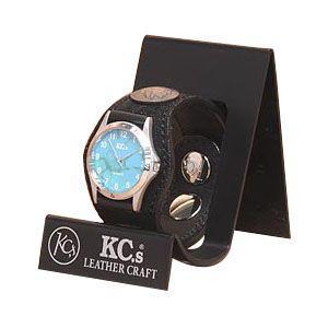 腕時計 革 ケイシーズ(KCs) エキゾチック スリーコンチョ ブラック ウォッチブレス エレファント KSR510D|nomado1230