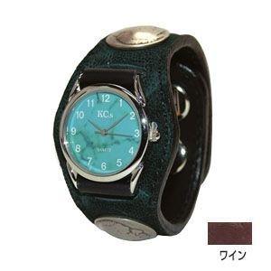 腕時計 革 ケイシーズ(KCs) エキゾチック スリーコンチョ ワイン ウォッチブレス エレファント KSR510B nomado1230