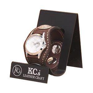 腕時計 革 ケイシーズ(KCs) エキゾチック スリーコンチョ ブラウン ウォッチブレス エレファント KSR010BR nomado1230