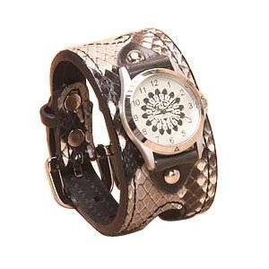 腕時計 革 ケイシーズ(KCs) エキゾチック ダブルバックル ナチュラル ウォッチ ブレス パイソン KSR015 nomado1230