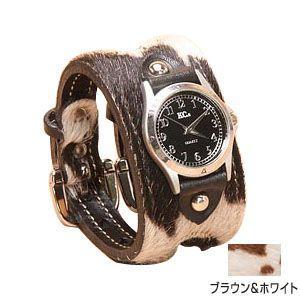 腕時計 革 ケイシーズ(KCs) エキゾチック ダブルバックル ブラウン・ホワイト ウォッチ ブレス アンボーン KSR016BRWH nomado1230