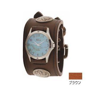 腕時計 革 ケイシーズ(KCs) ダブルバックル コンチョ ブラウン ウォッチブレス KSR527B nomado1230