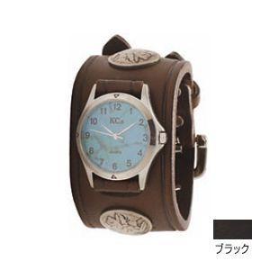 腕時計 革 ケイシーズ(KCs) ダブルバックル コンチョ ブラック ウォッチブレス KSR527D nomado1230