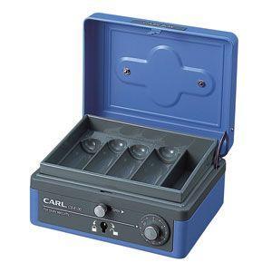防犯 カール事務器 手提金庫 ブルー キャッシュボックス M CB-8100-B|nomado1230