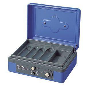 防犯 カール事務器 手提金庫 ブルー キャッシュボックス L CB-8200-B|nomado1230