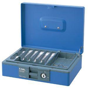 防犯 カール事務器 手提金庫 ブルー キャッシュボックス CB-8400-B|nomado1230