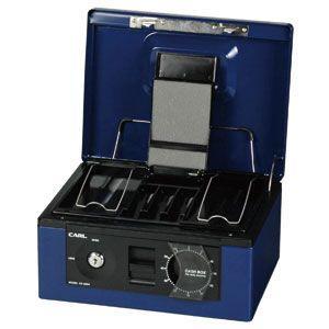 防犯 カール事務器 手提金庫 ブルー キャッシュボックス CB-8560-B|nomado1230