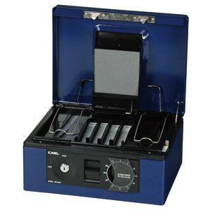 防犯 カール事務器 手提金庫 ブルー キャッシュボックス CB-8660-B|nomado1230