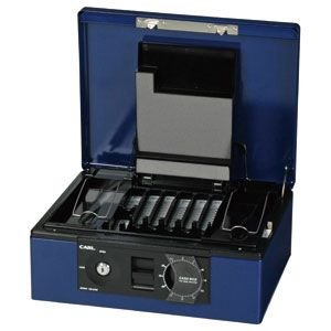 防犯 カール事務器 手提金庫 ブルー キャッシュボックス CB-8760-B|nomado1230