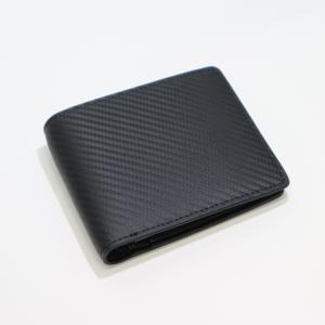 メンズ 2つ折 財布 革 カーボンイズム CSL ウォレット02 ブラック CB100-022|nomado1230