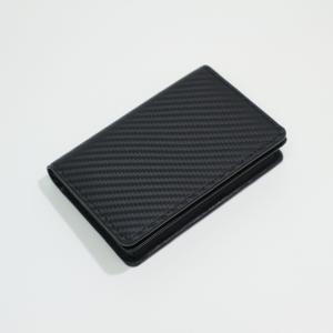 カードケース メンズ 革 カーボンイズム CSL カードケース02 ブラック/キャメル CB100-024|nomado1230