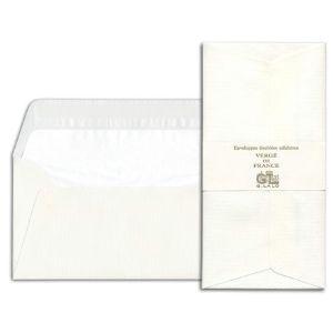 封筒 ジョルジュラロ ヴェルジェ・ド・フランス フラット フラップタイプ 封筒 5個セット ホワイト No. 46100|nomado1230