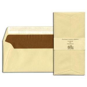 封筒 ジョルジュラロ ヴェルジェ・ド・フランス フラット フラップタイプ 封筒 5個セット シャンパン No. 46106|nomado1230