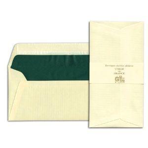 封筒 ジョルジュラロ ヴェルジェ・ド・フランス フラット フラップタイプ 封筒 5個セット アイボリー No. 46116|nomado1230