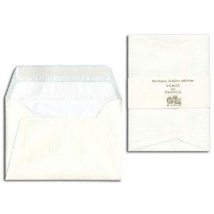 封筒 ジョルジュラロ ヴェルジェ・ド・フランス フラット フラップタイプ 封筒 5個セット ホワイト No. 52100|nomado1230