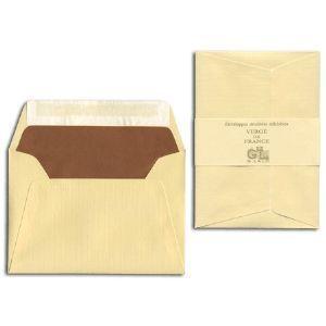 封筒 ジョルジュラロ ヴェルジェ・ド・フランス フラット フラップタイプ 封筒 5個セット シャンパン No. 52106|nomado1230