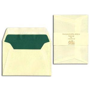 封筒 ジョルジュラロ ヴェルジェ・ド・フランス フラット フラップタイプ 封筒 5個セット アイボリー No. 52116|nomado1230