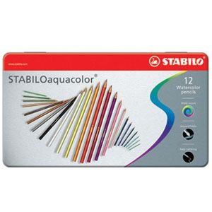 色鉛筆 水彩 セット スタビロ アクアカラー 軟質芯 水彩色鉛筆 12色セット メタルケース入り 1612-5|nomado1230