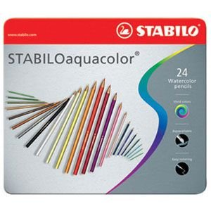 色鉛筆 水彩 セット スタビロ アクアカラー 軟質芯 水彩色鉛筆 24色セット メタルケース入り 1624-5|nomado1230