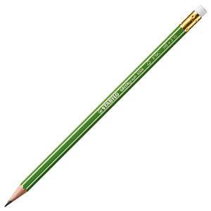 鉛筆 スタビロ グリーン鉛筆消しゴム付 HB 12本セット 6004-HB|nomado1230