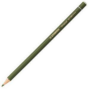 色鉛筆 水彩 スタビロ オリジナル 硬質水彩色鉛筆 2.5ミリ 単色 12本セット オリーブグリーン 87-585|nomado1230