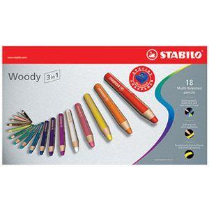 スタビロ ウッディー 水溶性色鉛筆 18色セット 880-18 nomado1230
