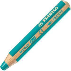 色鉛筆 水彩 スタビロ ウッディー 3in1 画材 10ミリ 5セット ターコイズ 880-470|nomado1230