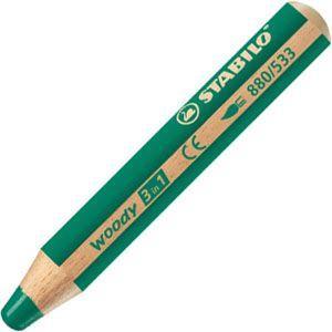 色鉛筆 水彩 スタビロ ウッディー 3in1 画材 10ミリ 5セット ダークグリーン 880-533|nomado1230