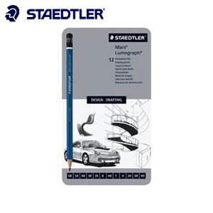 鉛筆 ステッドラー 100シリーズ ルモグラフ 製図用高級鉛筆 ケース入り 硬度 12種セット 鉛筆 100G12|nomado1230