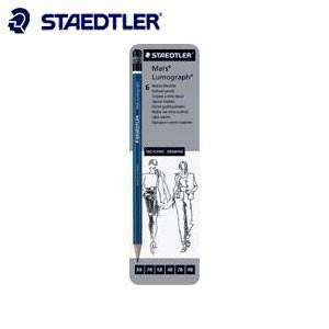鉛筆 ステッドラー 100シリーズ ルモグラフ 製図用高級鉛筆 ケース入り 硬度 6種セット 鉛筆 100G6|nomado1230