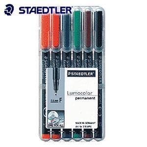 油性ペン ステッドラー ルモカラー 油性 6色セット 318-WP6|nomado1230