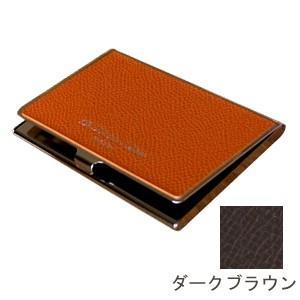 カードケース メンズ 革 名入れ スリップオン Noblessa NCシリーズ ブラスカードケース ダークブラウン DNK-2701DBR|nomado1230