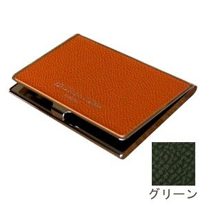 カードケース メンズ 革 名入れ スリップオン Noblessa NCシリーズ ブラスカードケース グリーン DNK-2701GRN|nomado1230