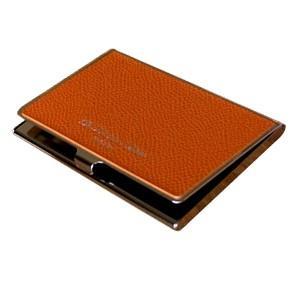 カードケース レディース 革 名入れ スリップオン Noblessa NCシリーズ ブラスカードケース オレンジ DNK-2701OR|nomado1230