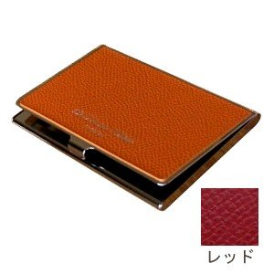 カードケース レディース 革 名入れ スリップオン Noblessa NCシリーズ ブラスカードケース レッド DNK-2701RD|nomado1230