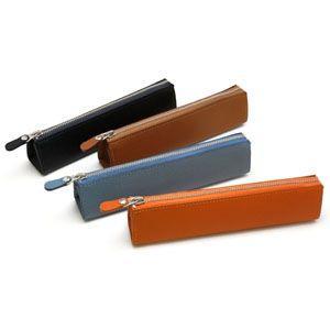 ペンケース 革 名入れ スリップオン Noblessa NCシリーズ オレンジ ファスナー ペンケース DNK-3501OR|nomado1230