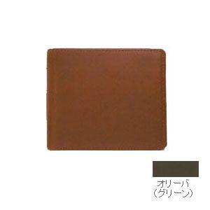 メンズ 2つ折 財布 革 名入れ スリップオン Liscio LCシリーズ グリーン オリーバ N3タイプ 中仕切り付き 二つ折り財布 ILC-1101GRN|nomado1230