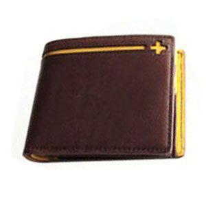 メンズ 2つ折 財布 革 名入れ C カンパニー クローチェシリーズ ダークブラウン・イエロー 二つ折り財布 cro-807DB|nomado1230