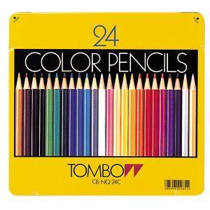 トンボ鉛筆 スタンダード 24色 缶入り 色鉛筆 CB-NQ24C|nomado1230