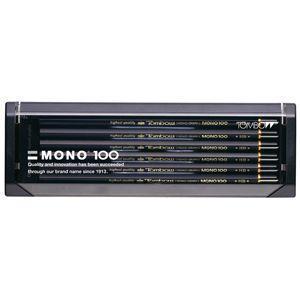鉛筆 トンボ鉛筆 モノ100 プラケース入り鉛筆 12本入り 4B MONO100-4B|nomado1230