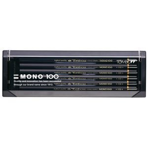 鉛筆 トンボ鉛筆 モノ100 プラケース入り鉛筆 12本入り 6B MONO100-6B|nomado1230