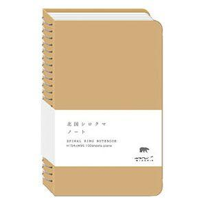 デザインフィル ミドリ スパイラルリングノート A6スリム 無罫 北国シロクマ柄 5冊セット No. 15029