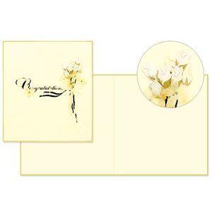 デザインフィル ミドリ レター&ギフト PCカラー色紙 二つ折り バラ ブーケ柄 5個セット No. 33143
