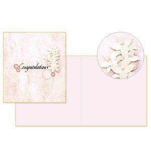 デザインフィル ミドリ レター&ギフト PCカラー色紙 二つ折り 百合柄 ピンク 5個セット No. 33144