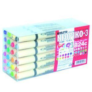 水性ペン デリーター ネオピコ-3 基本24色セット No. 3112303|nomado1230